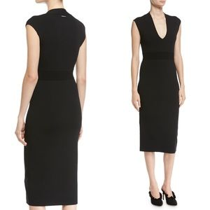 Michael Kors V-Neck Sleeveless Jersey Midi Dress